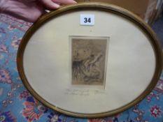 A. Renoir, etching, 'Le Chapeau epingle' (La fille de Berthe Morisot et sa cousine), signed in the