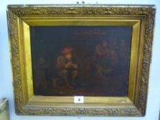 Flemish School, oils on panel, a tavern interior (24 x 32 cm), gilt frame TO BID ON THIS LOT AND FOR