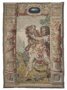 EXTRAORDINARY FLEMISH TAPESTRY BRUSSELS MANUFACTURE EARLY 17th CENTURY  EXTRAORDINARY FLEMISH TAPESTRY, BRUSSELS MANUFACTURE EARLY 17th CENTURY depicting the episode of Hercules and the Nemean lion, in a landscape. Side decorations of majestic columns with garlands of fruits with Corinthian capitals. Signature of the tapestry maker Guillaume De Pot, bottom right on the outer edge.  Measures cm. 374 x 264.  PROVENANCE Antonina Auction, Palazzo Ruspigliosi Zagarolo, June 1979 Illustrious Roman col...