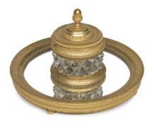INKWELL IN GILDED BRONZE AND CRYSTAL EMPIRE PERIOD