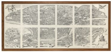 REPRODUCTION OF THE TOPONOMASTIC MAP OF ROME 20th CENTURY