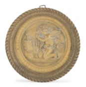CIRCULAR BAS-RELIEF IN GILDED BRONZE EARLY 20TH CENTURY