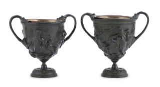 PAIR OF SMALL BURNISHED BRONZE CUPS 19th CENTURY