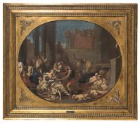 OIL PAINTING OF THE MASSACRE OF THE INNOCENTS ATTRIBUTED TO GIULIO CARPIONI