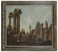 OIL PAINTING OF ARCHITECTURAL CAPRICCIO BY GIAN PAOLO PANNINI