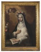 CENTRAL ITALY OIL PAINTING OF SAINT ROSE OF LIMA 17TH CENTURY