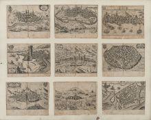 NINE ITALIAN ENGRAVINGS OF TOWN VIEWS 17TH CENTURY
