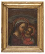 ITALIAN OIL PAINTING OF THE VIRGIN AND CHILD 18TH CENTURY
