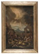 OIL PAINTING OF THE ANNOUNCEMENT TO THE SHEPHERDS BY THE BASSANO AREA 17TH CENTURY
