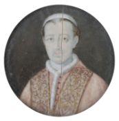 MINIATURE PORTRAIT OF A POPE 18TH CENTURY