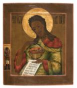RUSSIAN ICON OF SAINT JOHN THE BAPTIST 19TH CENTURY