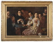 OIL PAINTING OF CARD PLAYERS IN THE MANNER OF GASPARE CROSS