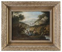 OIL PAINTING OF A RIVERSCAPE 18TH CENTURY