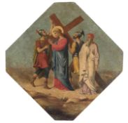 ITALIAN OIL PAINTING OF THE ASCENT TO CALVARY 19TH CENTURY