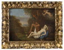OIL PAINTING OF SATYR AND VENUS WORKSHOP OF BARTHOLOMEUS BREENBERGH 17TH CENTURY