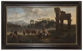 OIL PAINTING OF THE ROMAN FORUM ATTRIBUTED TO PIETER VAN LAER