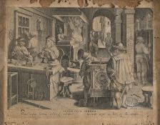 ENGRAVING OF A HOROLOGIST WORKSHOP BY PHILIPS GALLE