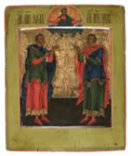 RUSSIAN ICON OF MARTYRS FLORUS AND LAURUS 19TH CENTURY