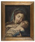 ROMAN OIL PAINTING OF THE VIRGIN AND CHILD 18TH CENTURY