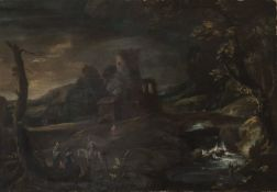 DUTCH OIL PAINTING OF A LANDSCAPE WITH TOWER 18TH CENTURY