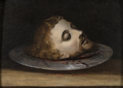 FLEMISH OIL PAINTING OF SAINT JOHN'S HEAD 17TH CENTURY