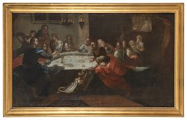 NEAPOLITAN OIL PAINTING OF THE LAST SUPPER 17TH CENTURY