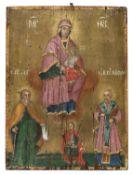 ROMANIAN ICON OF VIRGIN AND SAINTS 19TH CENTURY