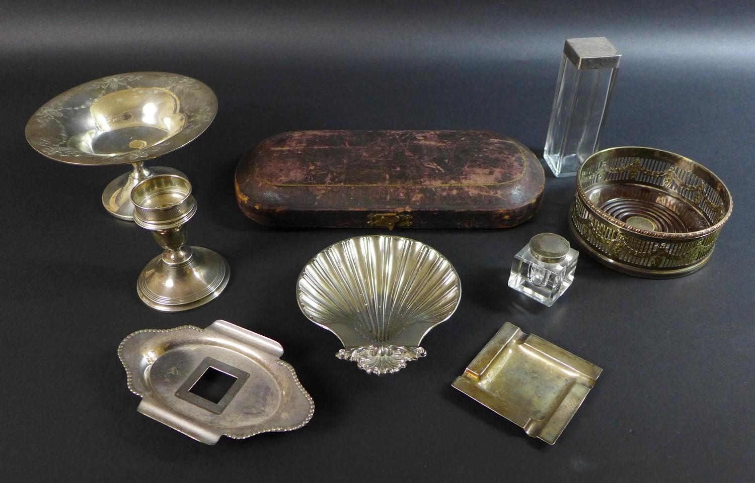 Lot 22 - A collection of silver and silver plated wares, comprising a George V, silver tazza with bright