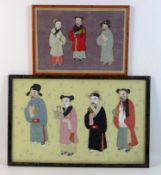 Two Chinese mixed media pictures, early to mid 20th century, both with full length figures of
