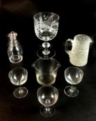 A group of eight 19th century and later glass wares, comprising a large 1927 Pigeon racing trophy