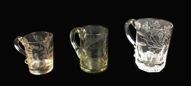 Three George III and Victorian glass Christening and commemorative tankards, each with acid etched