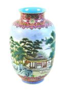 A Chinese famille rose porcelain vase, mid 20th century, decorated with a continuous scene of