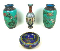 Four pieces of Oriental cloisonne, comprising a Chinese bowl, Republic period, with large four