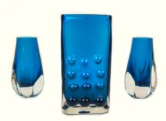 """A Whitefriars blue glass 6.5"""" 'Mobile Phone' vase, from the 'Textured' range, designed by Geoffrey"""