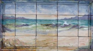 A large Highland Stoneware tile panel, by David Grant, made up of several tiles depicting a highland