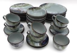 A Highland Stoneware Pottery part dinner and coffee service, comprising plates, bowls, cups and