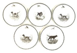 A set of five Wedgwood plates, circa 1960, printed with four designs from the series 'The American