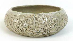 William Oram Trivett (British, 1872-1955), ceramic bowl, signed 'W.O. Trivett', with relief