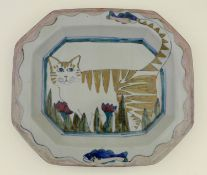 A group of Highland Stoneware Pottery, comprising of four large meat dishes, depicting snowdrops,