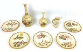 Eight pieces of Victorian Royal Worcester blush ivory wares, all decorated with hand painted