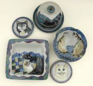 A group of Highland Stoneware pottery all depicting cats, comprising one medium bowl, one square