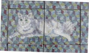 A Highland Stoneware pottery tile panel of a cat, made up of several tiles, unsigned with a