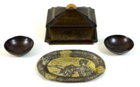 A group of Japanese metal items, comprising an early 20th century bronze cigarette box, of