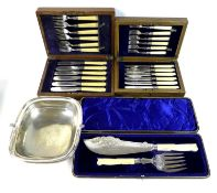 A group of silver plated wares, comprising a Victorian set of fish servers, with carved ivory