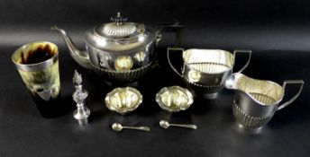 A group of silver plated items, comprising a 19th century horn beaker with shield shaped cartouche