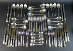 A set of silver plated flatware, by Cooper Ludlum, in Classic Bead pattern, eight place settings,