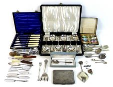 A small group of silver and plated items, including an Edwardian silver cigarette case