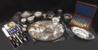 A collection of silver plated wares, including a three piece 'Plante' tea set all engraved with '