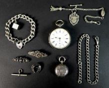 An Edwardian silver cased pocket watch, the enamel dial with Roman numerals, minute track and