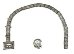 A late Victorian silver plated chatelaine belt, of thirty links each formed as a stylised butterfly,